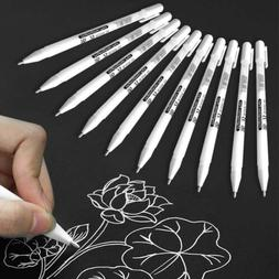 1~10 PCS White Gel Ink Pen Artist Fine Tip Sketching Drawing