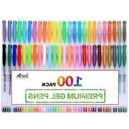100 Glitter Gel Pen Set, Including 50 Glitter Gel Pens & 50