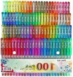 100 Color Glitter Gel Pen Set 30% More Ink Neon Glitter Colo