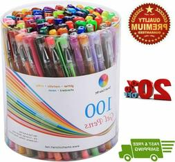 Smart Color Art 100 Colors Gel Pens Set for Adult Coloring B