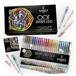 100 Gel Pens Set with Case for Adults Kids Artists | Ideal f