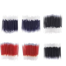 100Pcs 0.5mm Black Blue Red Ink Gel Pen Refills Writing Stat
