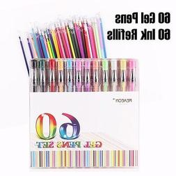 120 Gel Pens Set Color Ink  Refill Coloring Book Craft Card