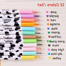 12pcs cute milky gel pens ballpoint pen