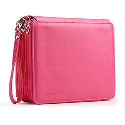 Shulaner 155 Slots Colored Pencil Case Rose Red Leather Pen