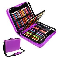 YOUSHARES 180 Slots PU Leather Colored Pencil Case - Large C