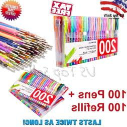 200 Pc Color Gel Pen Set Coloring Pens Glitter Metallic Past