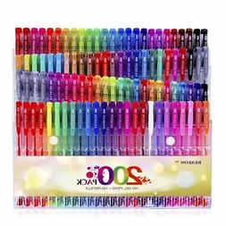 200 Coloring Gel Pens Set Caliart 100 Unique Plus ink Refill