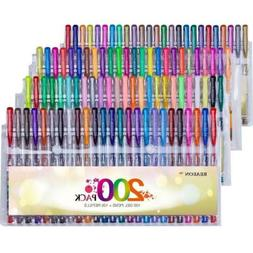Reaeon 200 Gel Pens Coloring Set - 100 Gel Colored Pen plus