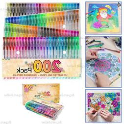 200  Gel Pens Refills Glitter Neon Set for Adult Coloring Bo