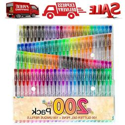 200 Gel Pens Set Glitter Metallic Neon Individual Colors for
