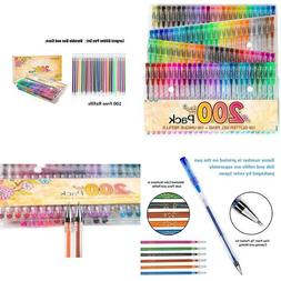 200 Glitter Gel Pen Set, Reaeon 100 Gel Markers Plus 100 Col