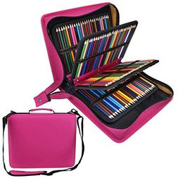 Shulaner 216 Slots PU Leather Colored Pencil Case Organizer