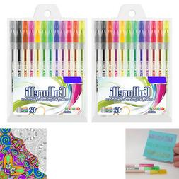 24 PK Glitter Colored Gel Pens Art Set School Sketch Drawing