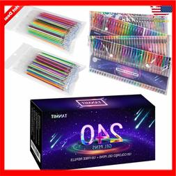 Tanmit 240 Gel Pens Set for Adult Coloring Books, Doodling,