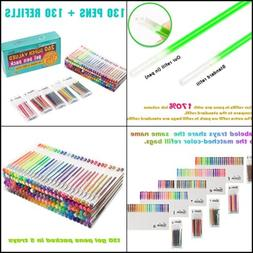 260 Colors Gel Pens Pen Set for Adult Glitter Coloring Books