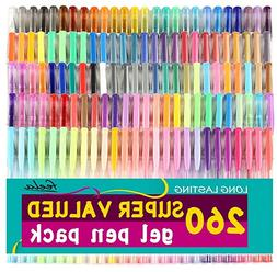 260 Gel Pens Art Set Glitter Swirl Neon Adult & Children Col