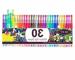 30 Colors Glitter Gel Pen Set Markers with 40% More Ink Adul