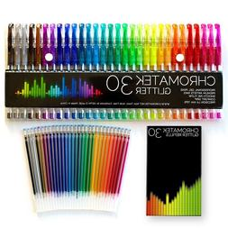 30 Gel Pens 30 Refills Set Adult Coloring Book Deluxe Art Gl