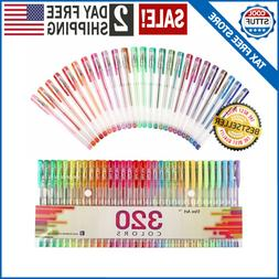 320 Colors Gel Pens Pen Set for Adult Coloring Books Writing