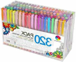 320 Pack Gel Pens Set Refill for Adult Glitter Coloring Pain