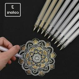 3Pcs Premium White Gel Pen Set 0.6mm Fine Tip Sketching Pens