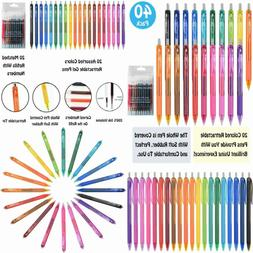 40 Pack Gel Pens Set, 20 Colored With 20 Matched Multi-Color