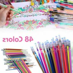 48 Colors Gel Pens Glitter Coloring Drawing Painting Craft M