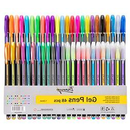 48 Unique Colors Gel Pen Set - Glitter,Neon,Metallic,Pastel