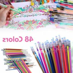 48X Color Gel Pen Refill Adult Coloring Book Ink Pens Drawin