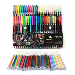 48x Fluorescent Gel Ink Pen Refill Watercolor Brush Colorful