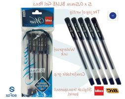5 x BIC CELLO Wow 0.5mm BLUE Gel Pens Fine Tip Soft Grip Smo