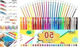 50 Set Gel Pens Colored Glitter For Coloring Books Drawing A