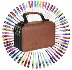60 Assorted Colors Gel Pen Set with 72 Slots PU LeatherT