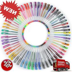60 Gel Pen Set Adult Coloring Book Deluxe Art Glitter Color