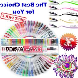 60 Gel Pens Set Color Art Coloring Book for Kids/Adult Glitt