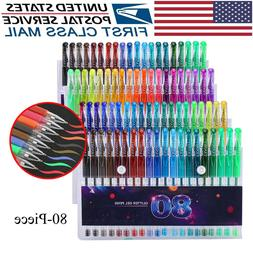 80pcs Glitter Gel Pens Set Gel Markers Pen for Adult Craftin