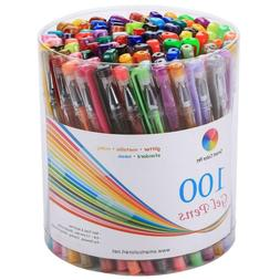 Pack of 100 Gel Pens Set with Metallic. Neon, Glitter and Pa