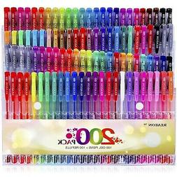 Reaeon Gel Pens for Adult Coloring Book 200 Colors Gel Pen C