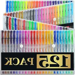 125 Gel Pens Set with Case Pack of 125 Individual Colors Qua