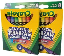 Crayola Bs523280 Large Washable Crayons 8 Colors - 2 Packs,