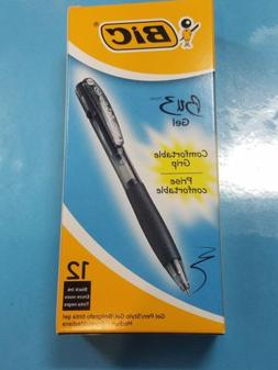 BIC BU3 Retractable Gel Pen, Bold Point, 0.7 mm, Black Barre