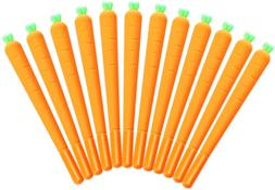 NUOLUX 12 Pack Carrot Gel Ink Pen Soft Silicone RollerBall P