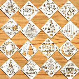Konsait 16Pack Christmas Stencils Templates, Reusable Plasti
