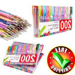 Colored Gel Pens 200 Pack Set Lot Metallic Glitter Color Qua