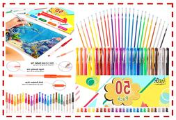 Colored Gel Pens 50 Pack For Coloring Books Kids Crafting Dr