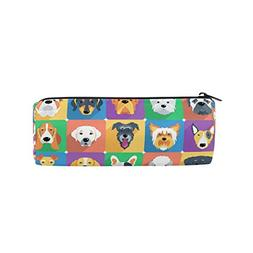 ALAZA Dogs Icon Animal Flat Design Pencil Pen Case Pouch Bag