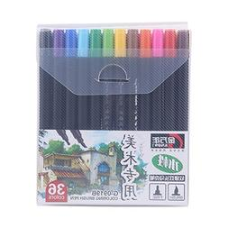 36 Colors Dual Tip Art Markers Permanent Highlighters with C