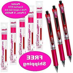 Pentel EnerGel RTX Pink Liquid Gel Ink, 0.7mm, 3 Pens with 5