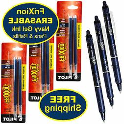 Pilot FriXion Clicker Erasable Navy Gel Ink Pens, 3 Pens wit